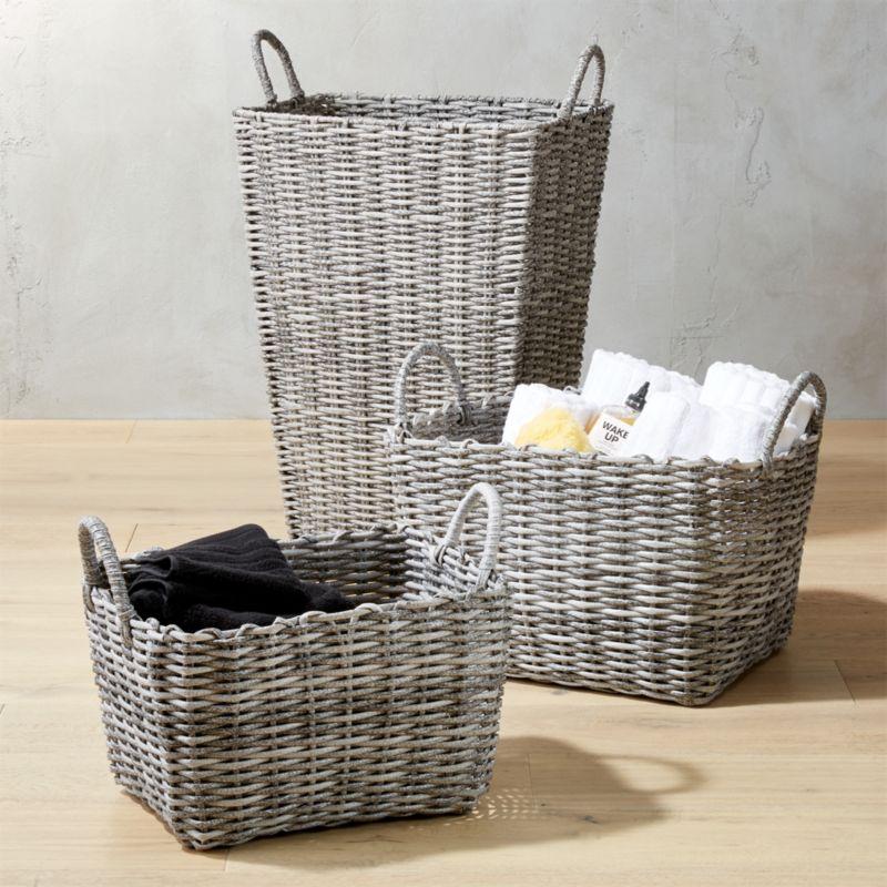 Beautiful Sydney Grey Baskets   CB2