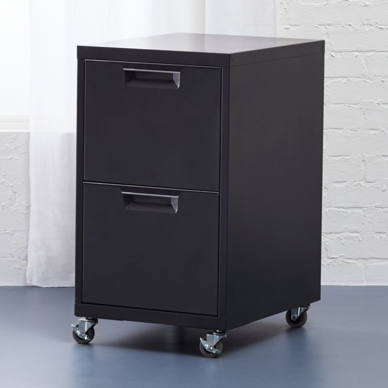 TPS black 2-drawer file cabinet | CB2