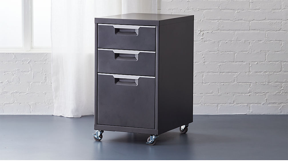 TPS carbon 3-drawer filing cabinet | CB2