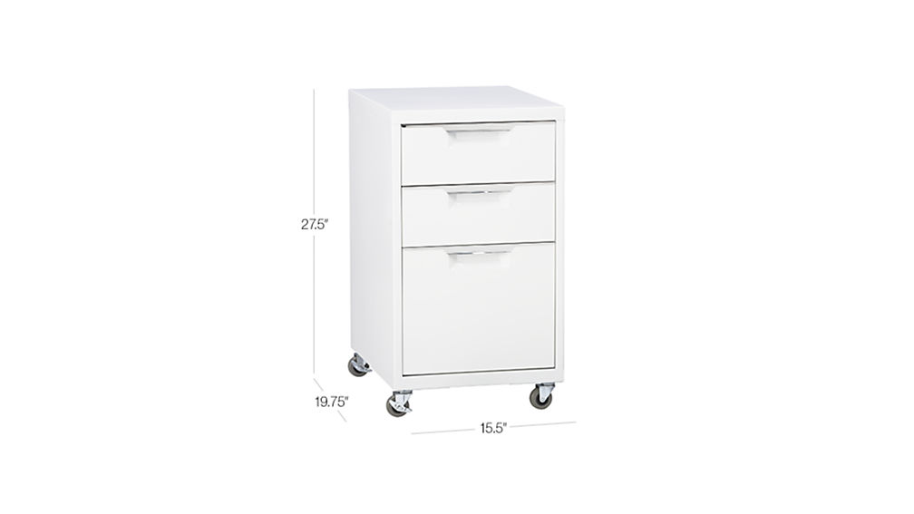 TAP TO ZOOM Image With Dimension For TPS White 3 Drawer Filing Cabinet