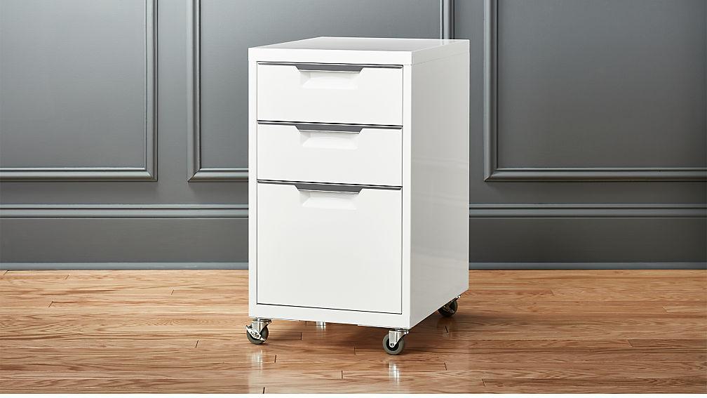 tps white 3 drawer filing cabinet cb2. Black Bedroom Furniture Sets. Home Design Ideas