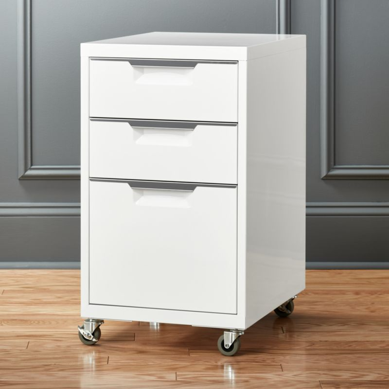 TPS 3 drawer white file cabinet