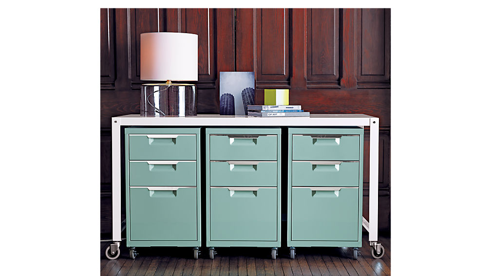 TPS mint 3-drawer file cabinet | CB2