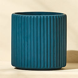 tahiti small cement teal planter