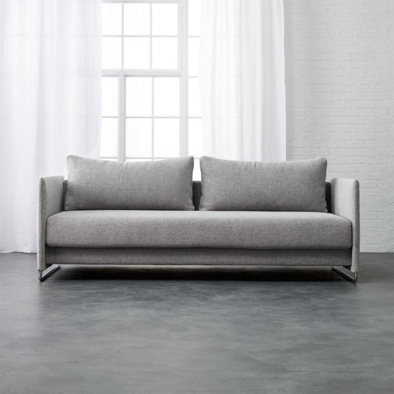 Tandom Microgrid Grey Sleeper Sofa Dess Microgrid Cb2