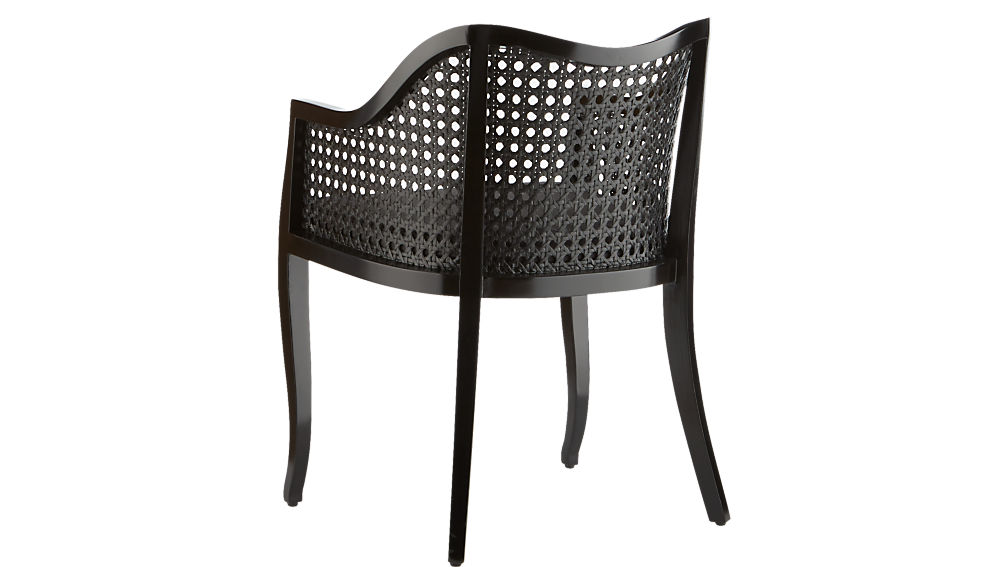 tayabas black cane side chair with black cushion