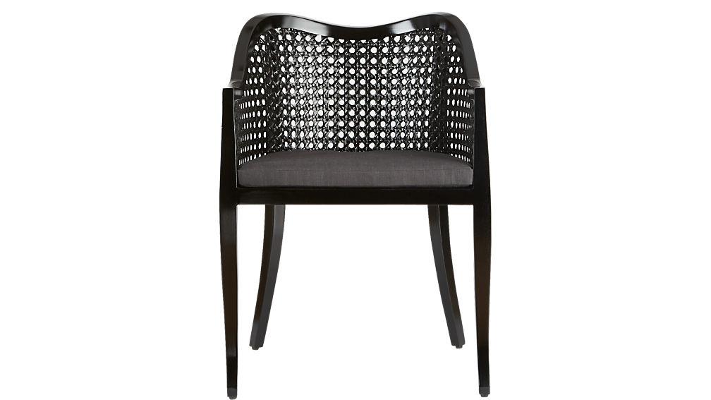 tayabas black cane side chair with black cushion
