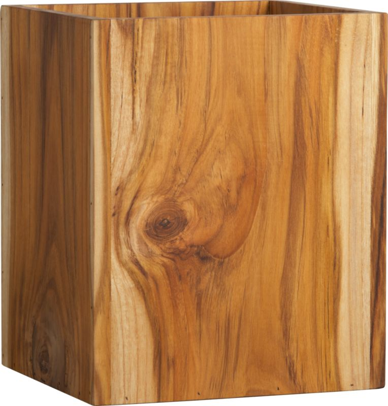 """<span class=""""copyHeader"""">clean and simple.</span> Spare solid teak wastecan naturally neatens bath, bedroom, office.<br /><br />To learn how to give your bathroom the spa treatment, head to <a rel=""""external""""href=""""http://cb2.com/blog/bathroom-organization-ideas/"""">Idea Central</a>.<br /><br /><NEWTAG/><ul><li>Solid teak</li><li>Natural and oil finish</li><li>Naturally occurring texture and knots</li></ul>"""
