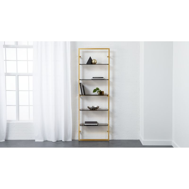 tesso bronze 84 wall mounted bookcase CB2