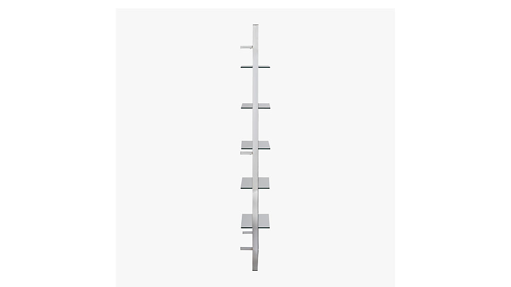 """tesso chrome 84"""" wall mounted bookcase"""
