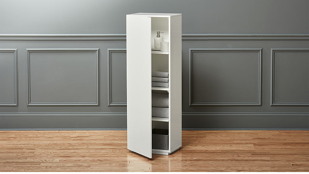 the wall tall white bathroom cabinet cb2