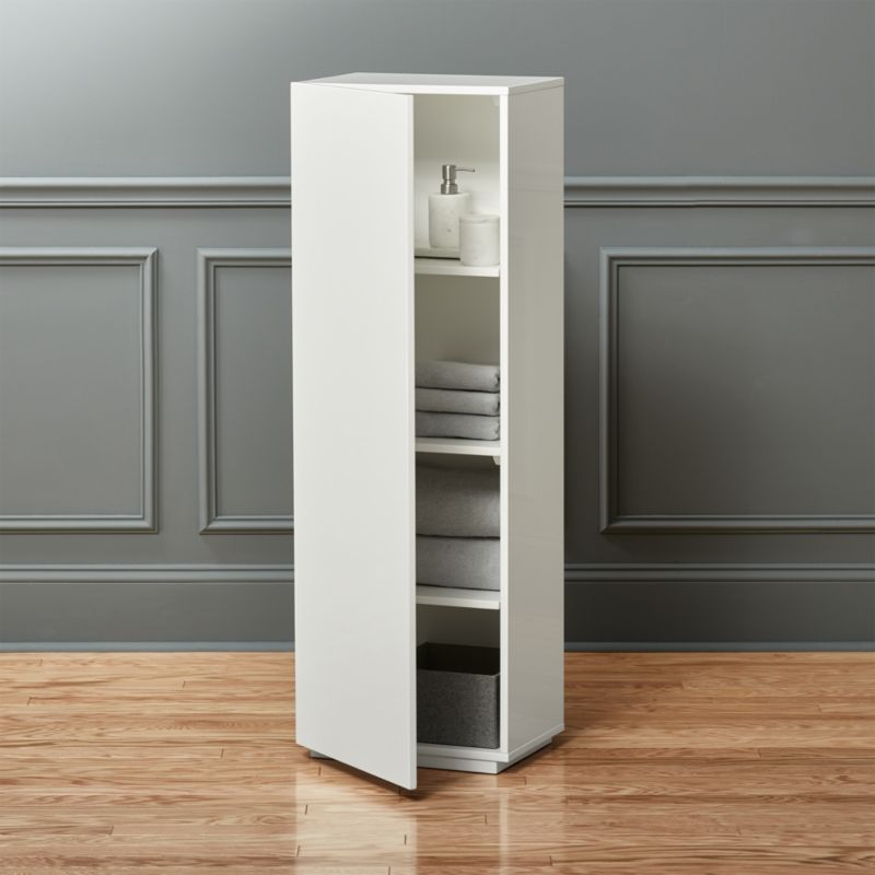 the wall tall white bathroom cabinet | CB2