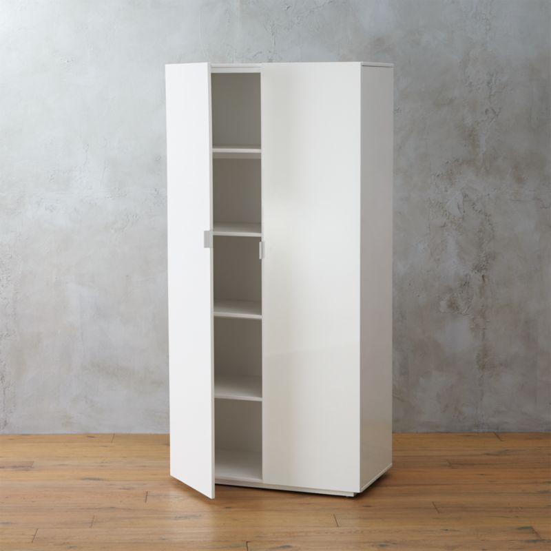 the wall white lacquer wardrobe cb2