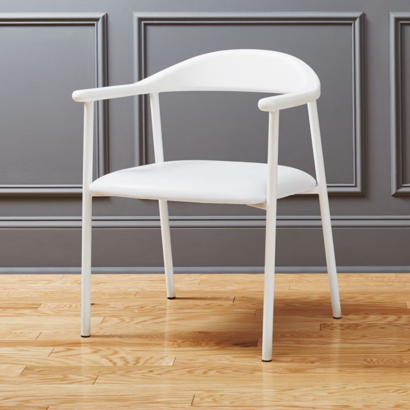 Nice Thea White Faux Leather Chair | CB2