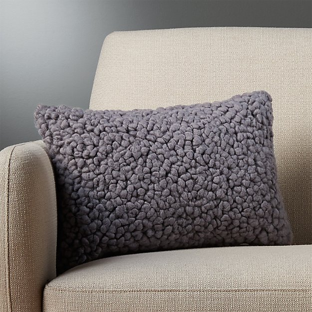 "18""x12"" toodle grey pillow with feather-down insert"