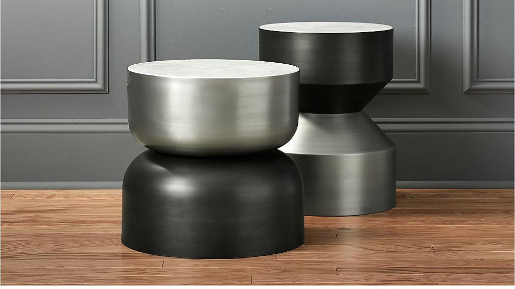 Silo Metal Drum Side Table Cb2