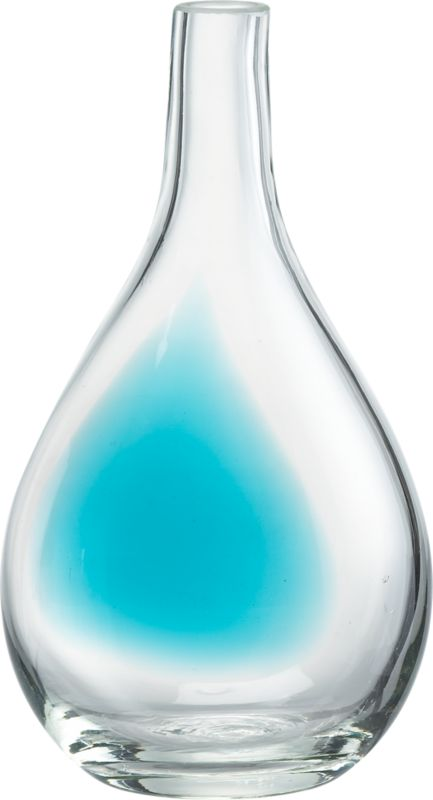 """<span class=""""copyHeader"""">color theory.</span> Handmade teardrop pops a wash of aqua in clear glass.<br /><br /><NEWTAG/><ul><li>Handmade</li><li>Soda glass</li><li>Water-tight</li><li>Wipe with soft, dry cloth</li></ul>"""