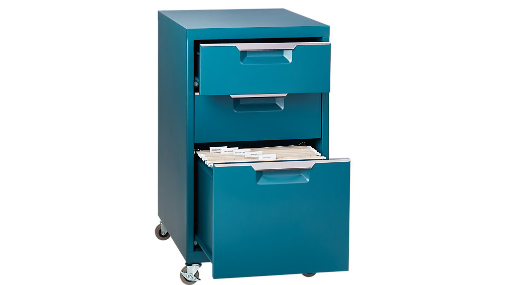 Tps Teal 3 Drawer Filing Cabinet Cb2