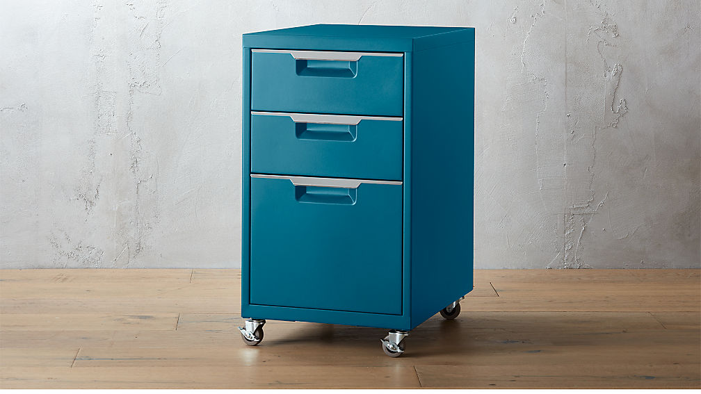 tps 3-drawer teal file cabinet | cb2
