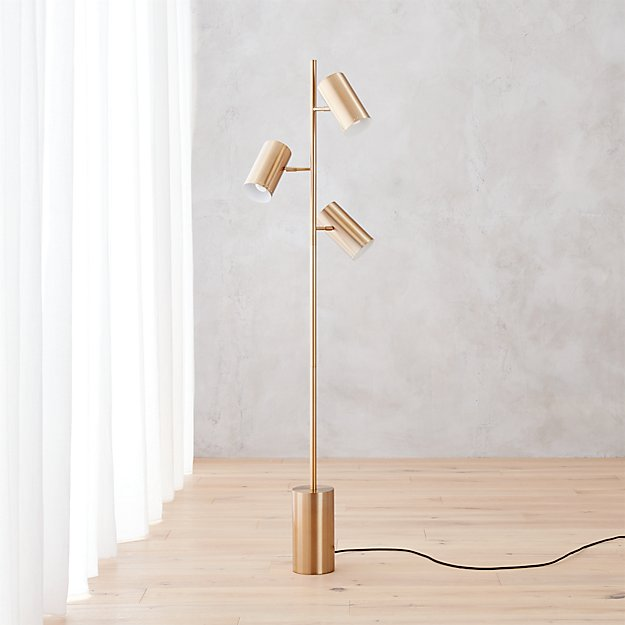 Trio Gold Floor Lamp Cb2