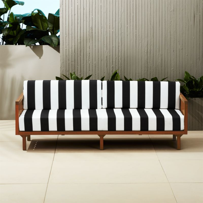 Elegant Tropez Black And White Stripe Outdoor Sofa + Reviews | CB2