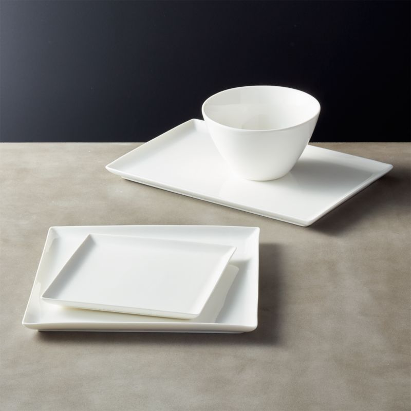 Modern Kitchen Plates: Tuck White Rectangular Dinnerware