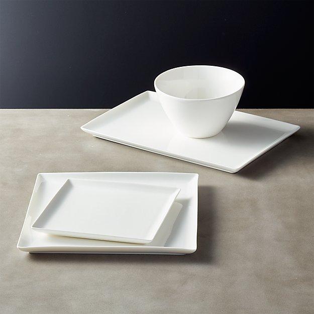 Tuck White Rectangular Dinnerware Cb2