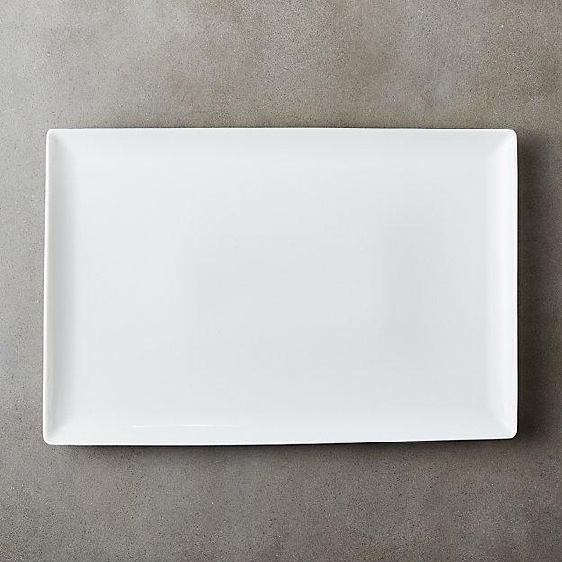 Tuck White Rectangular Platter Reviews Cb2