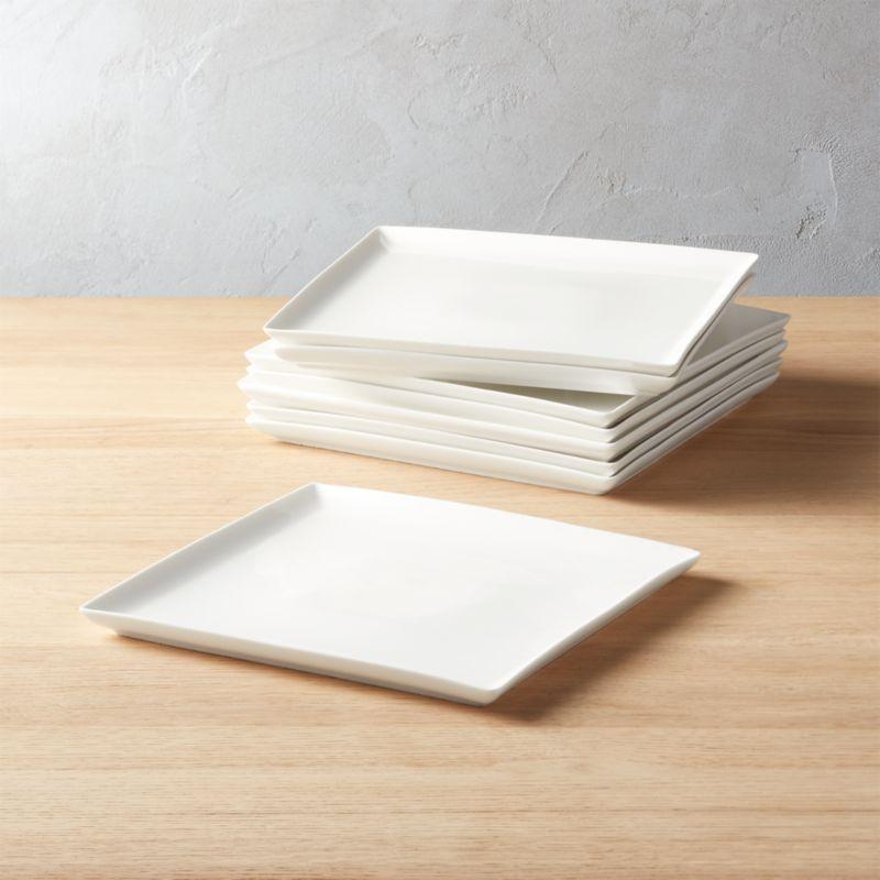 Tuck White Square Dinner Plates Set of 8 & Modern Dinnerware and Unique Dinnerware Sets | CB2