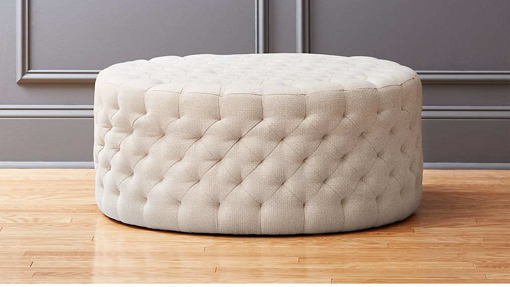 Natural Round Tufted Ottoman Reviews Cb2