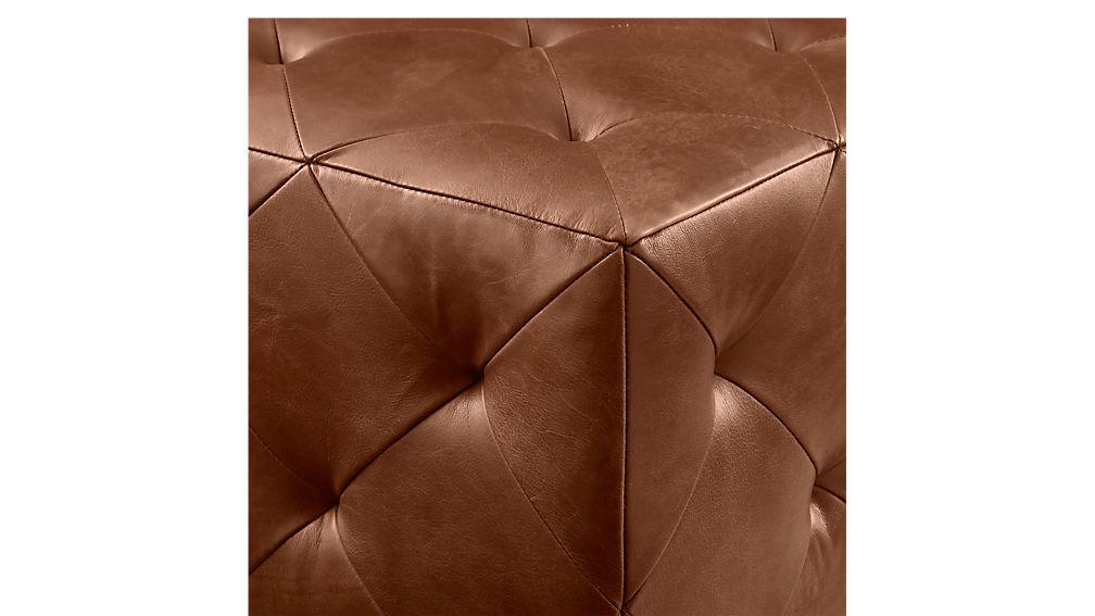 Saddle Leather Tufted Ottoman Cb2