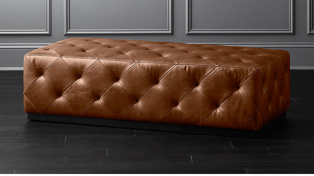 Saddle Leather Tufted Ottoman Reviews Cb2