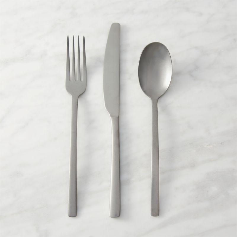 3 piece tumble silver flatware set in flatware reviews cb2. Black Bedroom Furniture Sets. Home Design Ideas
