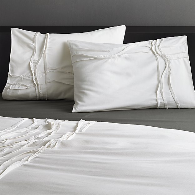 set of 2 twisted white shams