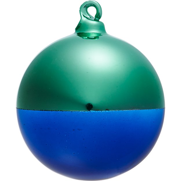 two-tone mint/navy ornament