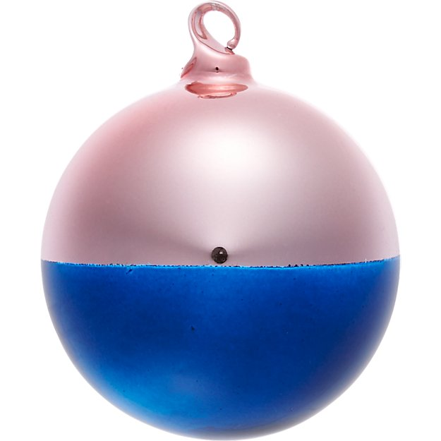 two-tone pink/navy ornament