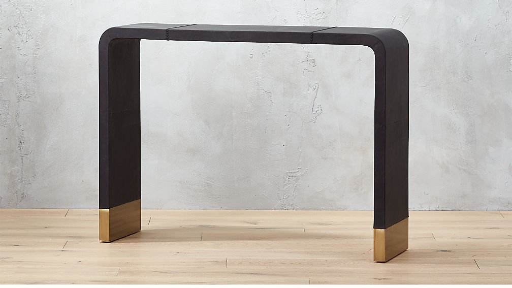 Tyler Leather Console Table With Stitch Detail