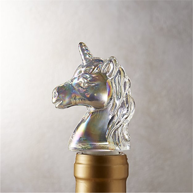 unicorn iridescent bottle stopper