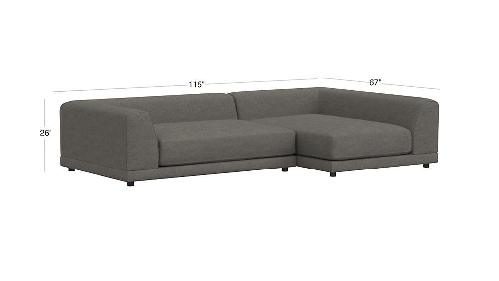 Uno 2 Piece Deep Sectional Sofa Cb2