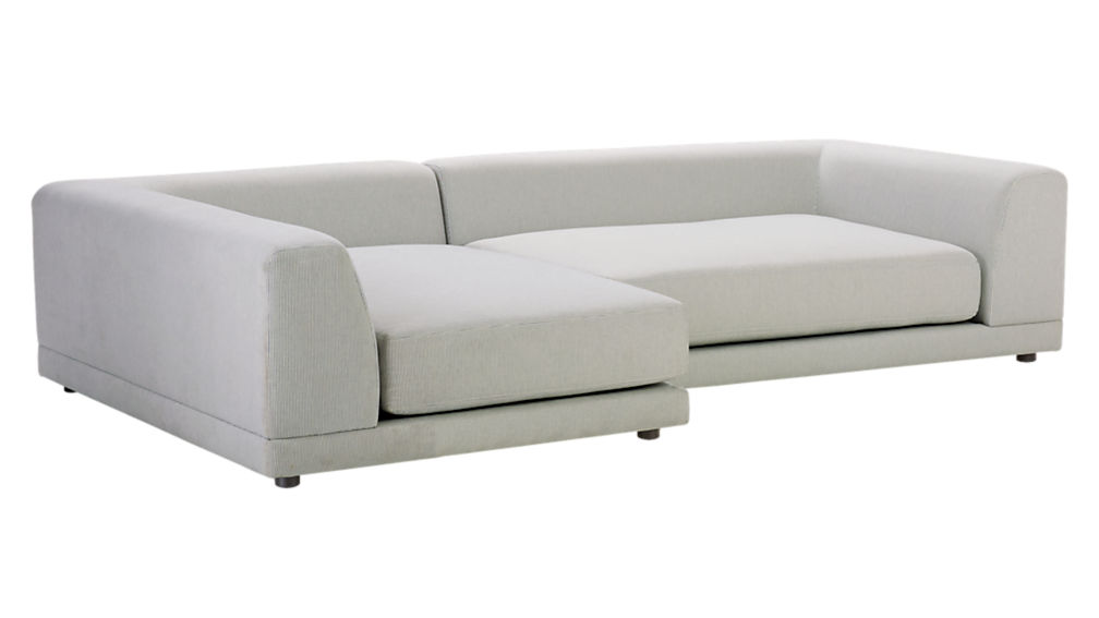 Uno 2 piece right arm sapphire striped sectional sofa cb2 for Uno 2 piece sectional sofa