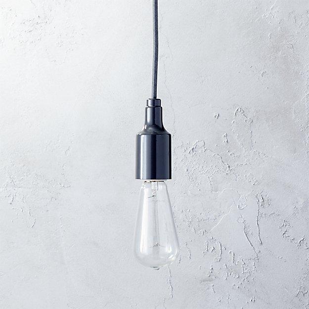 utility graphite pendant light (with bulb)