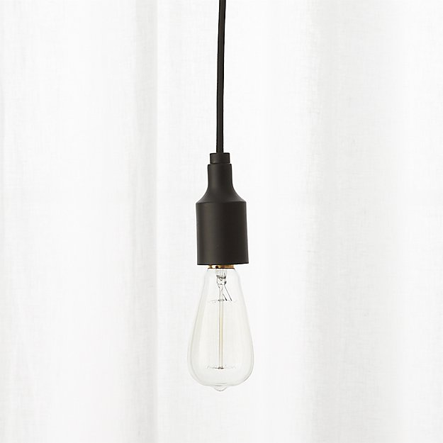 utility matte black single pendant light