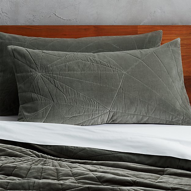 set of 2 vail graphite velvet king shams