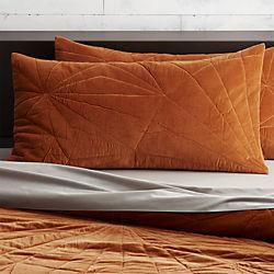 set of 2 vail amber velvet king shams