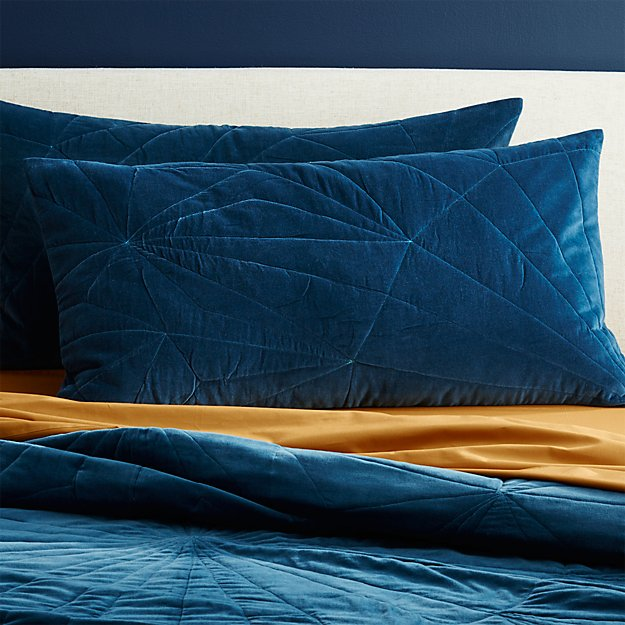 set of 2 vail navy velvet king shams