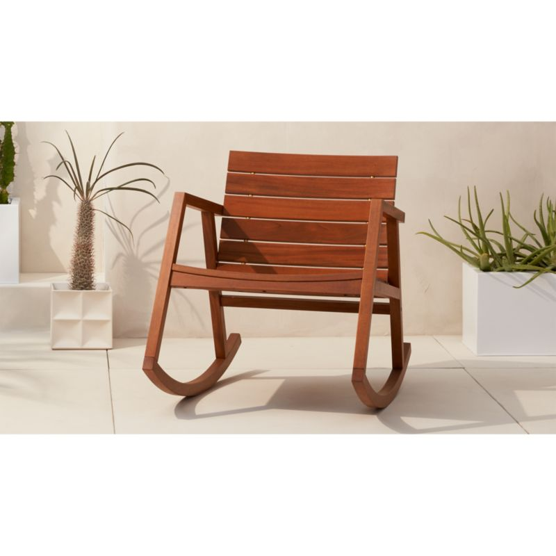 valalta outdoor wooden rocking chair in accent chairs Reviews CB2