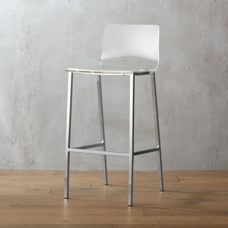 """<span class=""""copyHeader"""">poof.</span> Out of thin air. No fabric, no leather, just one clean swoop of clear, thick acrylic exposing architectural chrome plated square steel frame. Formfitting curves in all the right places. Clearly works with any room.<br /><br /><NEWTAG/><ul><li>Thick molded acrylic seat and back</li><li>Chrome-plated steel frame</li><li>30""""H seat sized for bars</li></ul>"""
