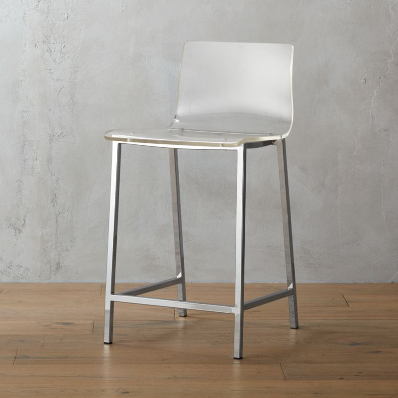 "<span class=""copyHeader"">poof.</span> Out of thin air. No fabric, no leather, just one clean swoop of clear, thick acrylic exposing architectural chrome plated square steel frame. Formfitting curves in all the right places. Clearly works with any room.<br /><br /><NEWTAG/><ul><li>Thick molded acrylic seat and back</li><li>Chrome-plated steel frame</li><li>24""H seat sized for counters</li></ul>"