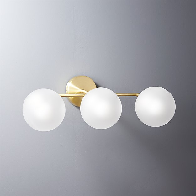 vega bath 3 bulb brass wall sconce