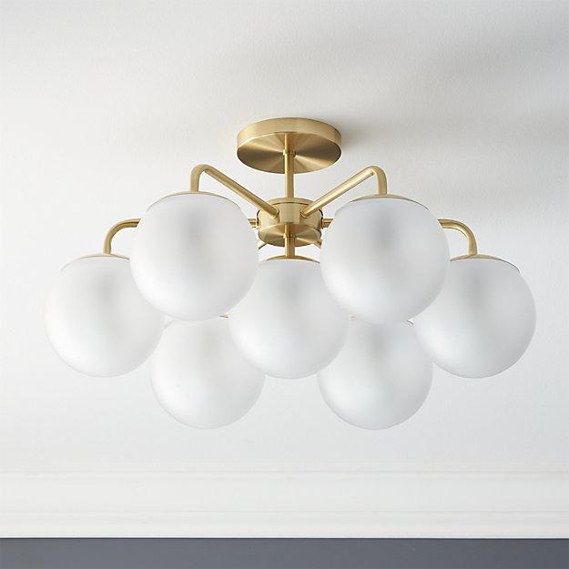 vega brushed brass flush mount lamp CB2